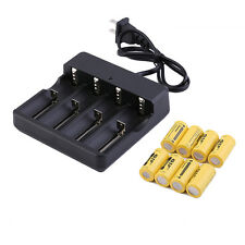 8PCS 3.7V CR123A 16340 2800mAh Yellow GTL Rechargeable Li-Ion Battery w/ charger