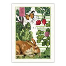 Michel Design Works Cotton Kitchen Tea Towel Garden Bunny - NEW