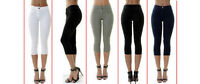 Womens HIGH WAISTED SKINNY JEANS 3/4 Cropped Capri PANTs Ex George UK 6 to 28