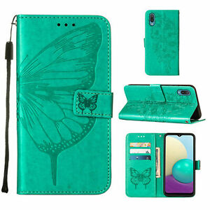 For Samsung Galaxy A02 / M02 Butterfly Magnetic Leather Wallet Flip Case Cover