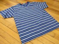 Men's Vintage Tommy Hilfiger Jeans Blue White Striped V Neck T Shirt Large Flag