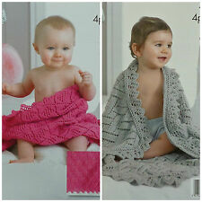 King Cole 4211 Baby's Shawls in DK or 4 Ply Knitting Pattern