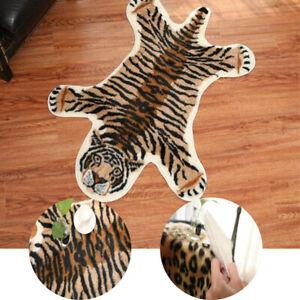 Tiger Print Area Rug Animal Skin Hide Carpet Faux Fur Soft Floor Mat Home Decor