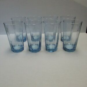 Anchor Hocking Reflections Light Blue Flat Panel Iced Tea Glasses Set of Eight
