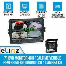 "7"" DVR Monitor 4ch Realtime Vehicle Reversing Recording CCD Camera 600tvl Kit"