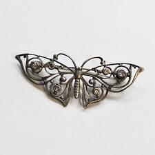 VINTAGE Schmetterling Silber Brosche 925er Silber mit Simili um 1950