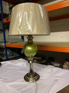 Really Nice Cream/Chrome/Green Shabby Chic Vintage Style Table Lamp Metal Base