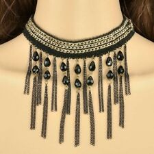Victorian Gothic Black Gold lace Beads Chain Bib Choker Statement Necklace