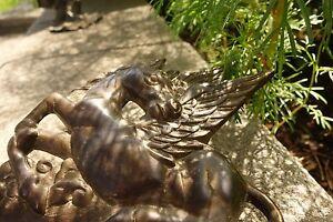 19C Greek Gothic Mythological Bronze Pegasus Dish