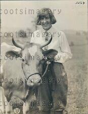 1923 Ogden Utah Farm Girl With Guernsey Cow Press Photo