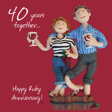 Happy 40th Ruby Anniversary Greeting Card One Lump or Two Holy Mackerel Cards