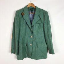 Vintage Ralph Lauren Wool Equestrian Style Blazer Sz 12 Suede Elbow Patch Green