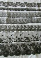 Job Lot 7 Samples Antique French Black Chantilly & Le Puy Lace c1890