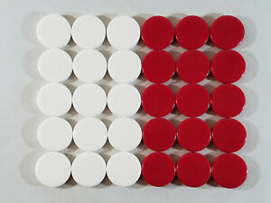 "30 Extra Large Backgammon Pieces - Red and White - Near 1 3/4"" Diameter"