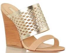 NEW Schutz $285 Brunilla Leather Wedge Mule Sandals in Macadamia Platina sz 10B