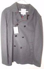 Hardy Amies 14 Saville Row Wool Grey Pea Coat w/ Red Trim Collar & Cuffs Size 44