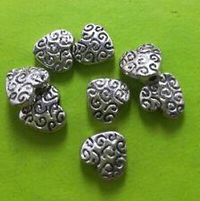 100pcs Tibet Silver Heart Bead Spacers 8x2mm 9.5x9x4mm 10685