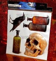 HALLOWEEN PUFFY WINDOW CLINGS skull poison bottle crow raven spooky puff sticker