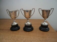 3 x small silver plated engraved trophies on wooden bases
