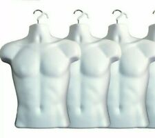 3 X White Male Dress Form Mannequin Hard Plastic With Hook For Hanging 158w