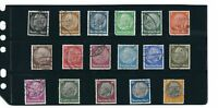 Third Reich era Germany / Hindenburg / Complete Type set of 17 stamps 1932-1936