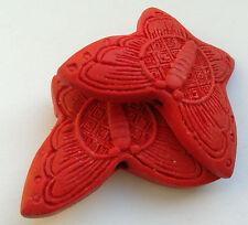 2 Rojo Mariposa Cinnabar tallado lacquerware Cuentas, Joyería/Manualidades 38 mm