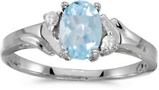 10k White Gold Oval Aquamarine And Diamond Ring (CM-RM1248W-03)