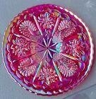 1991 Fenton HOACGA Ruby Red Carnival Glass Peacock & Dahlia Plate. RARE Limited