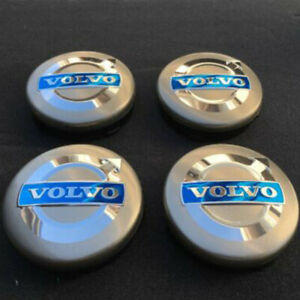4pcs 64mm Wheel Rim Logo Center Volvo Black Center Wheel Hub Emblem Caps