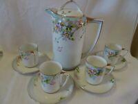 NIPPON Hand Painted White Porcelain Tea SET-Teapot W. 4 Demitasse Cups/Saucers