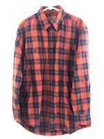 Duluth Button Down Shirt Mens Medium Red Plaid Cotton Flannel Long Sleeve Euc