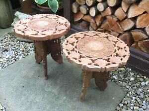 2 Indian Carved Inlaid Wooden Folding Side Table Plant Stand bohemian