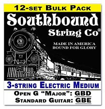 12-pack Cigar Box Guitar Strings: 3-string Electric Medium Open G/Std 34-12-02