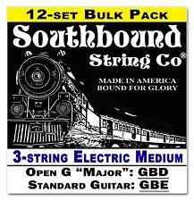 12-pack Cigar Box Guitar Strings: 3-string Electric Medium Open G/Std 34-12-02