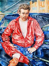 "11.69 × 15.75"" James Dean original watercolor SIGNED and DATED"