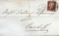 GB QV 1868 PENNY RED HALF WRAPPER PLATE 79 FROM MANCHESTER TO CARDIFF 12TH OCT