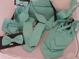 Matt Mint Green Collection-Hankies -Bow ties-Self-tie-Cravats-Cummerbunds + Sets
