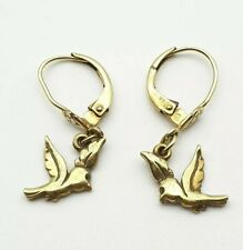 Vintage Pretty Rolled Gold Bird Dangle Earrings Marked A.D