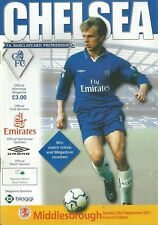Football Programme - Chelsea v Middlesbrough - Premiership - 23/9/2001