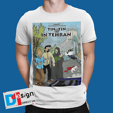 TINTIN T-Shirt TEHRAN  Retro Funny Cool Cartoon Comic Tee WAR IRAN IRAQ