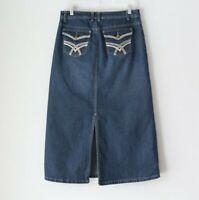 CATO Womens Long Denim Jean Skirt SIZE 8 - Modest, Maxi, Stitch Details, Zipper