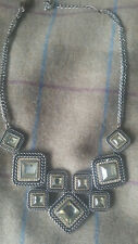Next Statement Tiered Collar Necklace Gold and Silver Tone and Faux Crystal