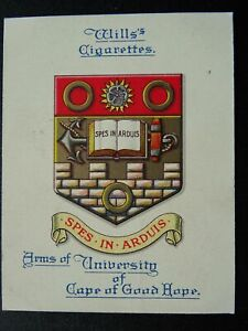 No.6 CAPE OF GOOD HOPE UNIVERSITY Arms of Universities L25 W.D.& H.O.Wills 1923