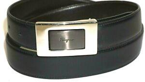 "Authentic Salvatore Ferragamo Belt Reversible Size 34 Black Brown Matte 1 1/8"""