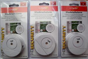 3 x Heitech Glasbruchalarm Fenster Tür Alarm 90dB  Melder Glas Sensor  NEU + OVP