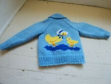 Vintage Crocheted/Knitted Kid's Duck Sweater Jacket