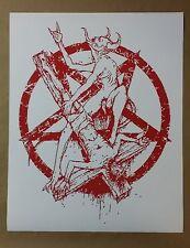 "Satan Triumphs Jesus Satanic Worship Poster 30"" x 24"" Evil Art Hell Atheist 666"