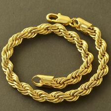 Handsome 9K Yellow Gold Filled Mens Rope Bracelet,8.8 Inch,6mm,Z4918