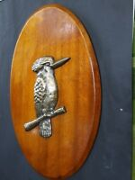 Antique  Australian Bronze Kookaburra  Bird on Maple  Wall Plaque 1920's Rare