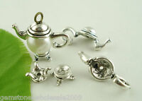 10Sets Wholesale Mixed Lots Silver Tone Teapot Bead Cap Set Findings 21x9mm 50